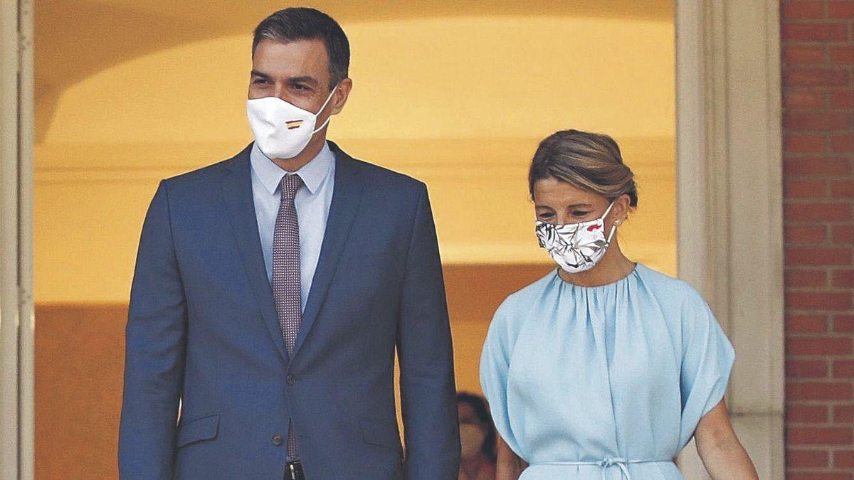 Pedro Sánchez y Yolanda Díaz en Moncloa. // EFE