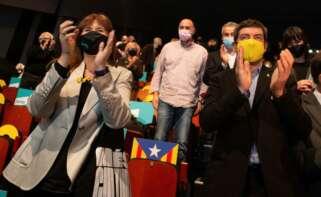 Laura Borràs y Joan Canadell, los que más mensajes de odio a España generan, junta a TV3. // EFE