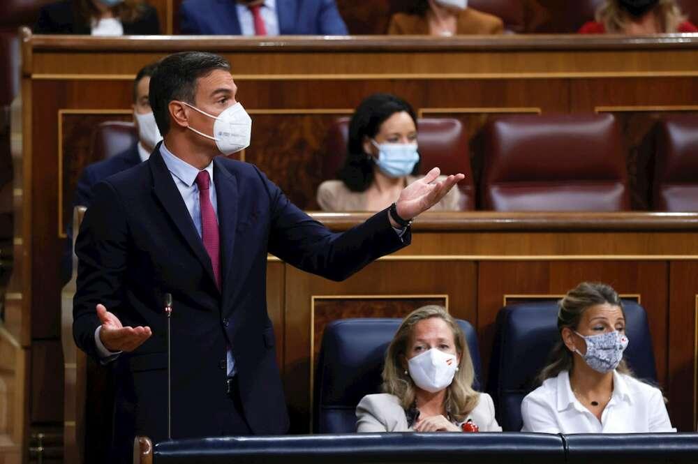 El presidente del Gobierno, Pedro Sánchez (i), interviene en la sesión de control al Gobierno celebrada este miércoles en el Congreso. EFE/Juan Carlos Hidalgo