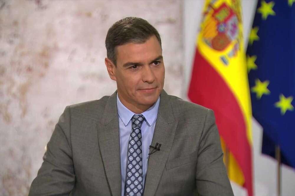 Pedro Sánchez, en la entrevista concedida a RTVE desde Moncloa.