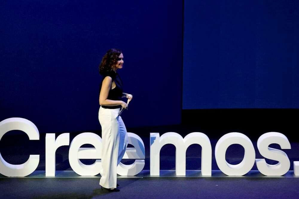 La presidenta de la Comunidad de Madrid, Isabel Díaz Ayuso, durante la convención nacional del Partido Popular (PP) este sábado en Valencia EFE/Manuel Bruque